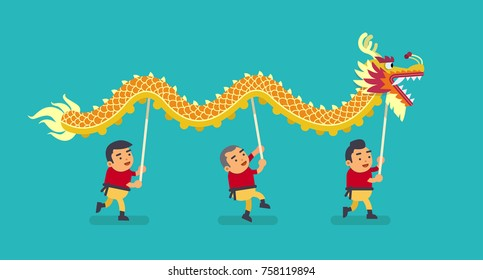 The Chinese Dragon Dance. Vector illustration