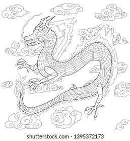 Chinese dragon drawing for coloring book without color and background, mythological fairy tale character flying in the sky, line art