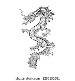 Chinese dragon hand drawn vector illustration. Mythical creature ink pen sketch. Black and white clipart. Serpent freehand drawing. Isolated monochrome mythic design element. Chinese new year poster