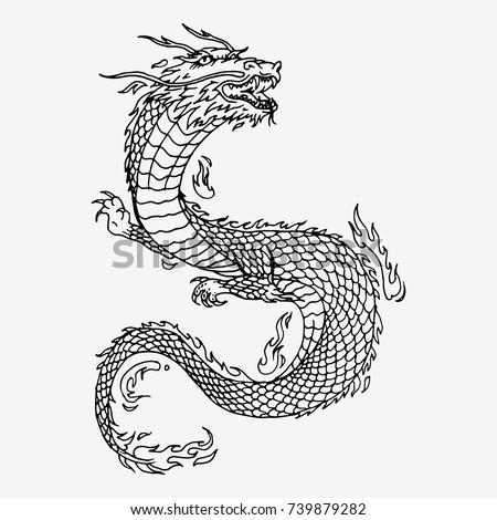 chinese dragon hand drawn vector sketch のベクター画像素材