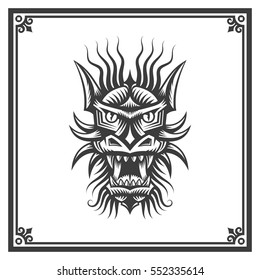Chinese dragon head - black and white tattoo in a decorative frame. Vector illustration.