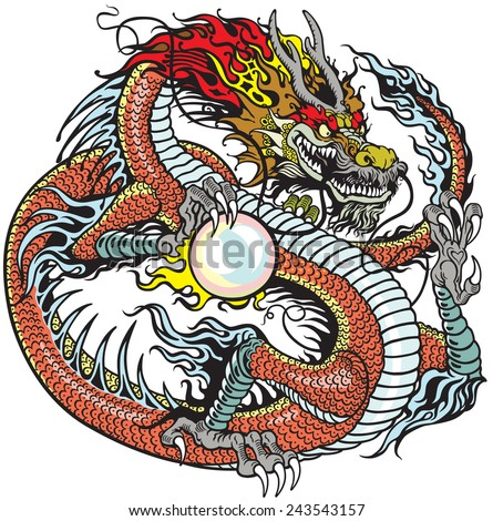 Chinese Dragon Holding Pearl Tattoo Illustration Stock Vektorgrafik
