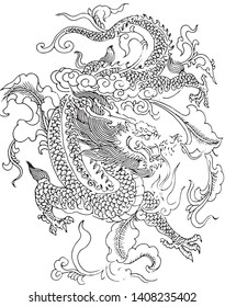 Chinese dragon line drawing vector