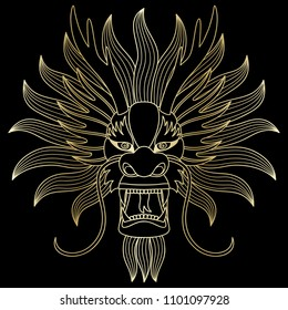 Chinese dragon outline gold head. Vecor luxury illustration of chinese eastern calendar symbol, tattoo, textile print, isolated on black background.
