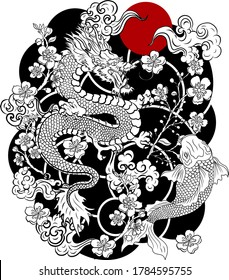 Chinese dragon with peach blossom and cloud tattoo.Japanese tattoo with water splash and black cloud.koi fish carp and tiger illustration for T-shirt background.Dragon and koi fish battle on wave,