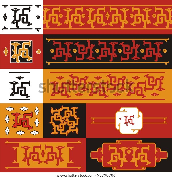 Chinese dragon, set # 06-a. Ornamental background on motives of ancient chinese reliefs.