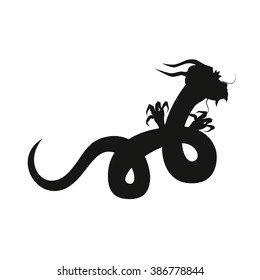 Chinese dragon silhouette isolated on white background.