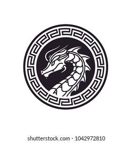 Chinese Dragon Snake Monster Myth Mascot Badge Medallion Emblem Label Logo design