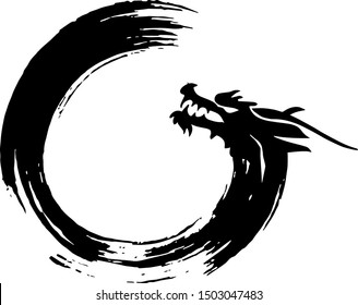 Chinese dragon in the symbol of Buddhism enso