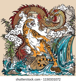 Chinese dragon and tiger in the landscape with waterfall , rocks ,plants and clouds . Two spiritual creatures in the Buddhism representing the spirit heaven and matter earth. Vector illustration