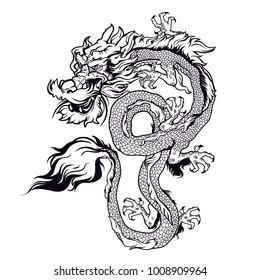 Chinese dragon vector design.Traditional dragon  illustration.