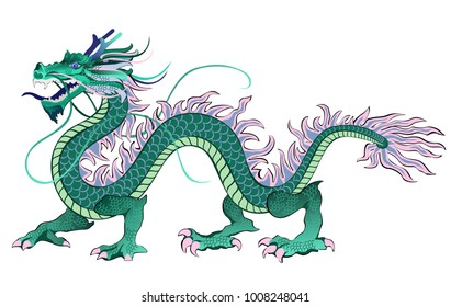 Chinese dragon. Vector illustration isolated on white background.
