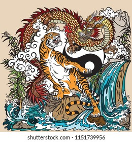 Chinese dragon versus tiger in the landscape with waterfall , rocks ,plants and clouds . Two spiritual creatures in the Buddhism. Vector illustration included Yin Yang symbol