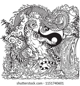 Chinese dragon versus tiger in the landscape with waterfall , rocks ,plants and clouds . Two spiritual creatures in the Buddhism. Black and white vector illustration included Yin Yang symbol