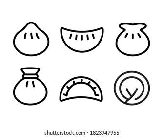 Chinese Dumpling black simple vector icon illustration