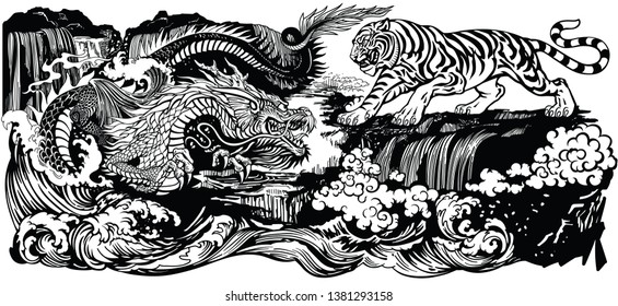 Chinese East Asian dragon versus tiger in the landscape with waterfall and water waves . Two spiritual creatures in the Buddhism representing the spirit heaven and matter earth. Black and white vector