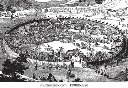Chinese encampment is a large circular Chinese encampment, vintage line drawing or engraving illustration.