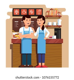 Chinese entrepreneurs couple owners of small coffee & pastry shop business. Man & woman standing in front of counter together. Takeaway cafe business interior. Flat style isolated vector illustration.
