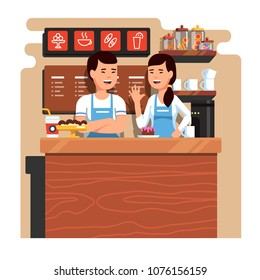 Chinese entrepreneurs couple owners of small coffee and pastry shop business. Man and woman standing behind counter together. Takeaway cafe business interior. Flat style isolated vector illustration