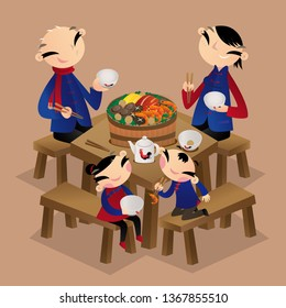 A Chinese family enjoys eating walled village dish (Poon Choi). It is a traditional Cantonese dish, a lot of ingredients are layered in a large basin. Popular in New Territories, Hong Kong,