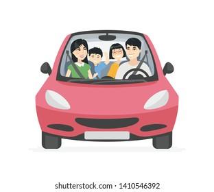 中国人家族 自動車のイラスト素材画像ベクター画像 Shutterstock