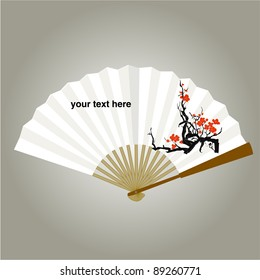Chinese fan painting vector background
