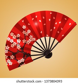 Chinese fan with sacura flowers on the golden background. Vector illustration.