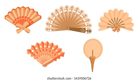 Chinese fans. Japanese traditional hand fan set vector illustration, vintage woman paper and  wooden fans isolated