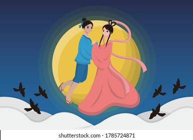 Chinese Festival, Chinese Tanabata Festival, Tanabata, cartoon illustration Cowherd and Weaver Girl, magpie, love, holding hands, July 7, legendary festival