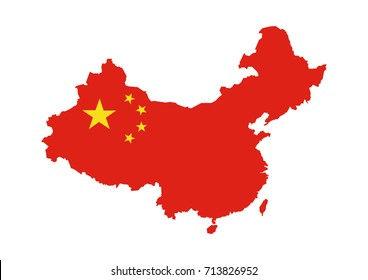 chinese flag map vector