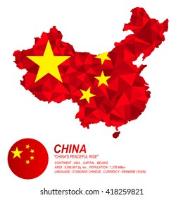 Chinese flag overlay on Chinese map with polygonal style.(EPS10 art vector)