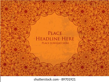 chinese flower motif template vector/illustration