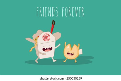 Chinese food box and fortune cookies. Vector cartoon. Friends forever.