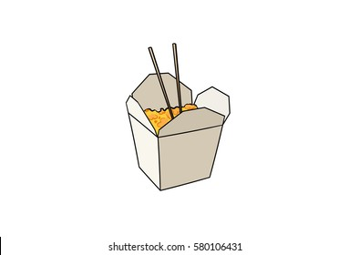 Chinese food cartoon. Hand drawn isolated on white background.