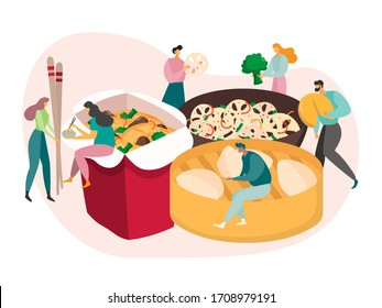 Chinese food concept, tiny people eat huge meal, lunch box delivery, vector illustration. Men and women cartoon characters with chopsticks, takeaway cafe. Asian dumplings and noodles with vegetables