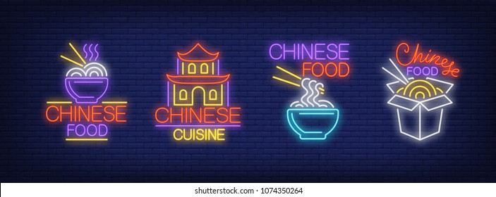 Chinese food cuisine neon signs collection. Neon sign, night bright advertisement, colorful signboard, light banner. Vector illustration in neon style.