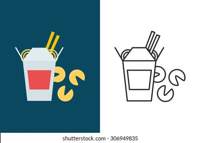 Chinese food flat and line style vector icon