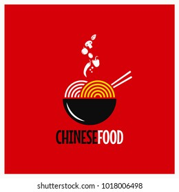 Chinese food logo. Chinese noodles or pasta on red background