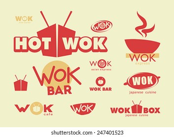 Chinese food, menu cover template with box, wok and chopsticks