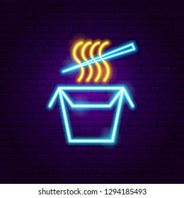 Chinese Food Neon Sign. Vector Illustration of Cafe Promotion.