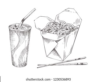 Chinese food noodles in box with chopsticks, refreshing drink with ice in disposal paper cup and with sipper. Takeaway monochrome icons set promo vector