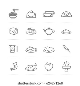 chinese food vector line icons, minimal pictogram design, editable stroke for any resolution