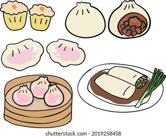 chinese food.restaurant level.A special meal on the Chinese table. The food is called: Dumplings, Red Pork Bun, hargao, Xiao Long Bao ,tube noodles
