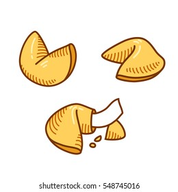 Chinese fortune cookie set in hand drawn sketch style. Isolated vector illustration.