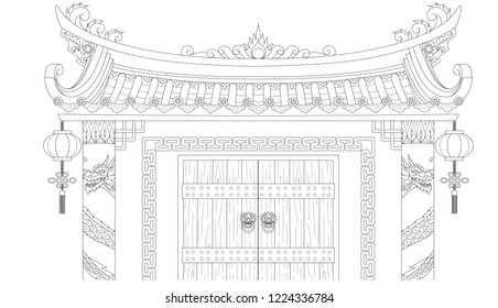 Chinese gate for coloring book and design element.Vector illustration