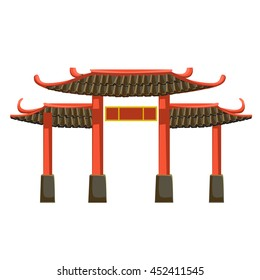 Chinese gate isolated on a white background. Vector illustration.