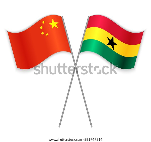 Chinese and Ghanaian crossed flags. China combined with Ghana isolated on white. Language learning, international business or travel concept.