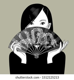 Chinese girl girl covers her face with a fan with a dragon. Vintage engraving stylized drawing. Vector illustration