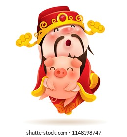 Chinese God of Wealth and Little Pig. Chinese New Year. The year of the pig.