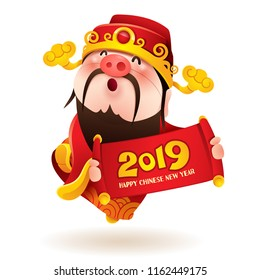 Chinese God of Wealth with a pig nose holds 2019 sign. Chinese New Year. The year of the pig.